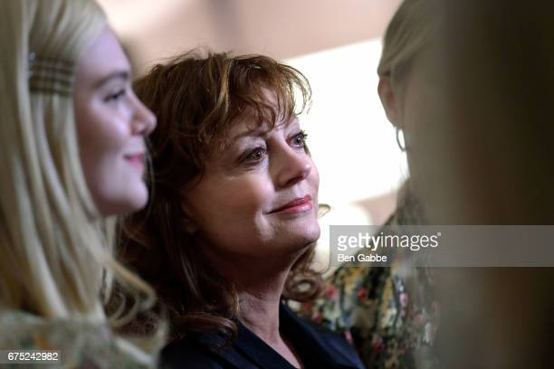 Actresses Elle Fanning and Susan Sarandon attend a special screening of '3 Generations' hosted by The Weinstein Company at the Whitby Hotel on April...