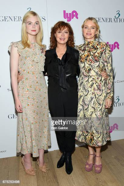 Actresses Elle Fanning Susan Sarandon and Naomi Watts attend a special screening of '3 Generations' hosted by The Weinstein Company at the Whitby...