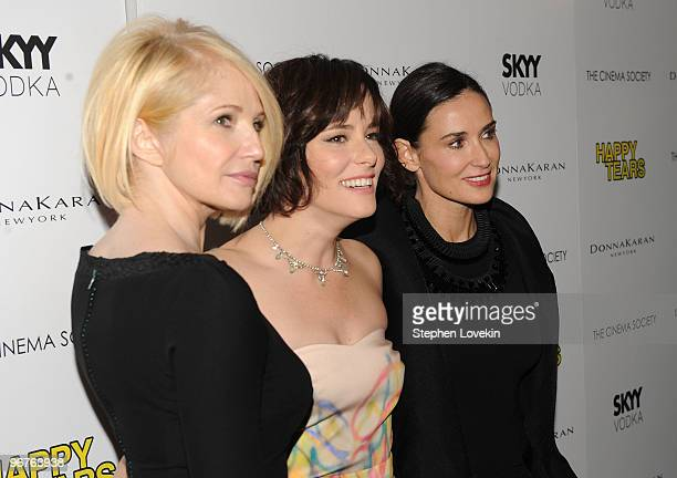 Actresses Ellen Barkin Parker Posey and Demi Moore attend a screening of Happy Tears hosted by the Cinema Society and Donna Karan at The Museum of...