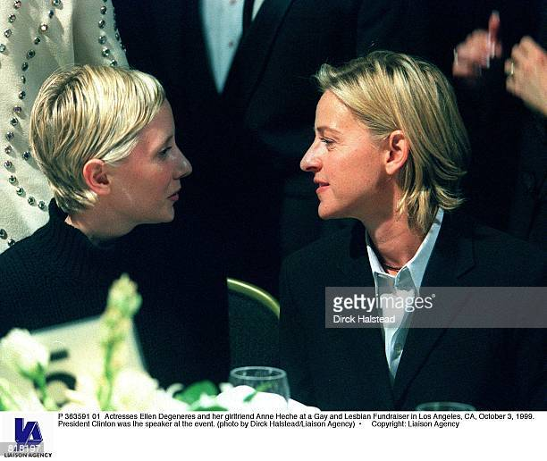 Actresses Ellen Degeneres and her girlfriend Anne Heche at a Gay and Lesbian Fundraiser in Los Angeles CA October 3 1999 President Clinton was the...