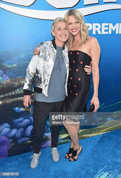 Actresses Ellen DeGeneres and Kaitlin Olson attend The World Premiere of DisneyPixar's FINDING DORY on Wednesday June 8 2016 in Hollywood California