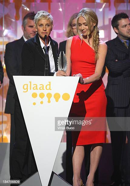 Actresses Ellen DeGeneres and Portia de Rossi onstage at the 20th Annual GLAAD Media Awards held at NOKIA Theatre LA LIVE on April 18 2009 in Los...