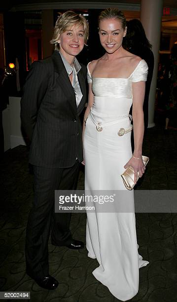 Actresses Ellen DeGeneres and Portia de Rossi pose at the Fox Golden Globe After Party at the Beverly Hilton Hotel on January 16 2004 in Beverly...