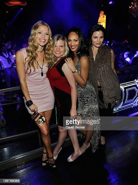 Actresses Ellen Hollman Bonnie Sveen Cynthia AddaiRobinson and Katrina Law appear at the Chateau Nightclub Gardens at the Paris Las Vegas on February...