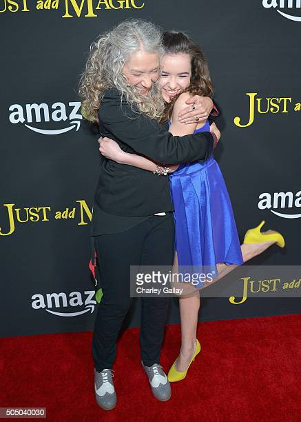 Actresses Ellen Karsten and Aubrey K Miller attend Amazon red carpet premiere screening at the Arclight Hollywood for original liveaction kids series...