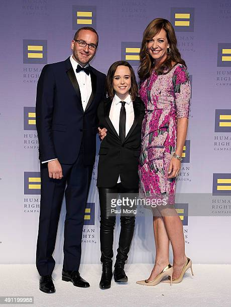 Actresses Ellen Page and Allison Janney pose for a photo with HRC President Chad Griffin at the 19th Annual HRC National Dinner at the Walter E...