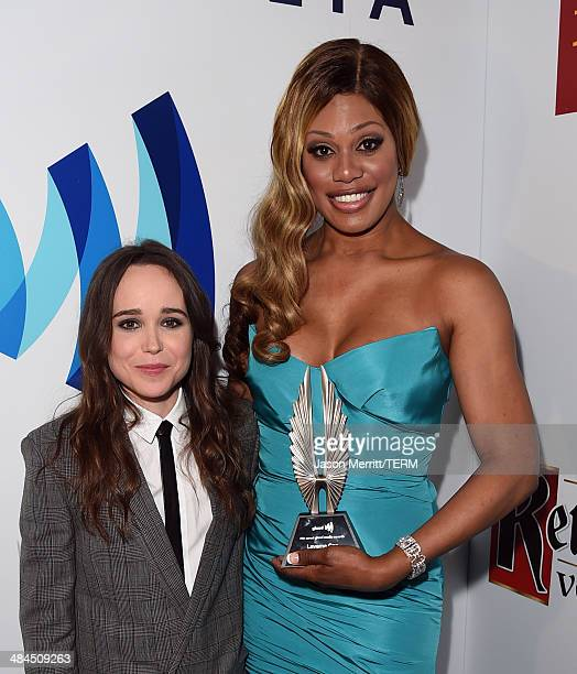 Actresses Ellen Page and Laverne Cox attends the 25th Annual GLAAD Media Awards at The Beverly Hilton Hotel on April 12 2014 in Los Angeles California