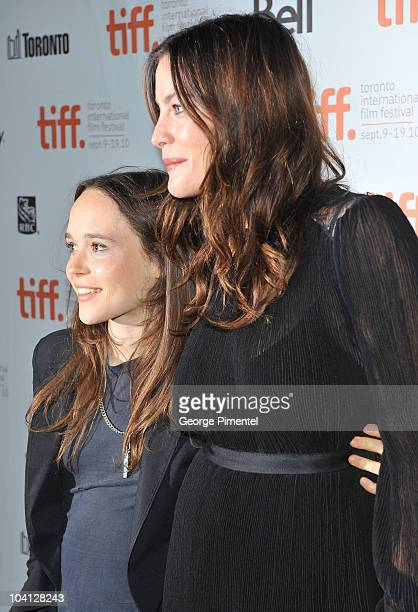 Actresses Ellen Page and Liv Tyler arrive at the Super Premiere held at Ryerson Theatre during the 35th Toronto International Film Festival on...