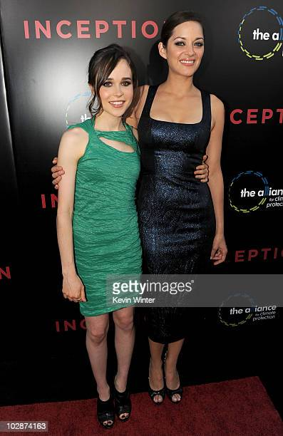 Actresses Ellen Page and Marion Cotillard arrive to premiere of Warner Bros Inception at Grauman's Chinese Theatre on July 13 2010 in Los Angeles...