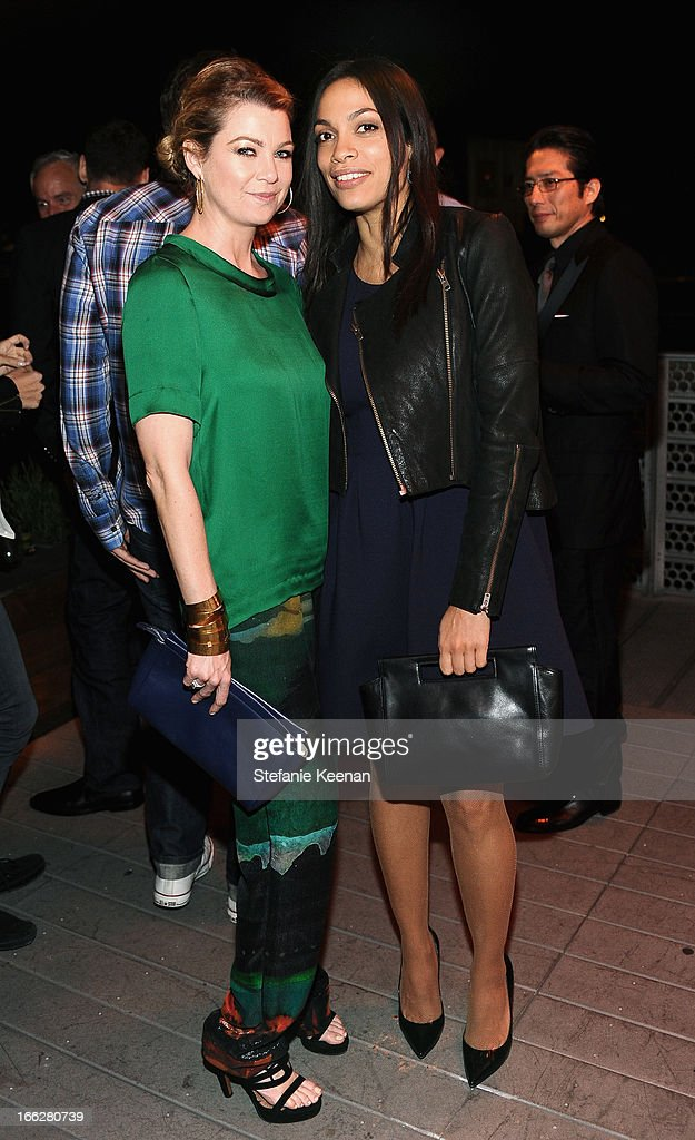 Actresses Ellen Pompeo and Rosario Dawson attend Coach's 3rd Annual Evening of Cocktails and Shopping to Benefit the Children's Defense Fund hosted by Katie McGrath, J.J. Abrams and Bryan Burk at Bad Robot on April 10, 2013 in Santa Monica, California.