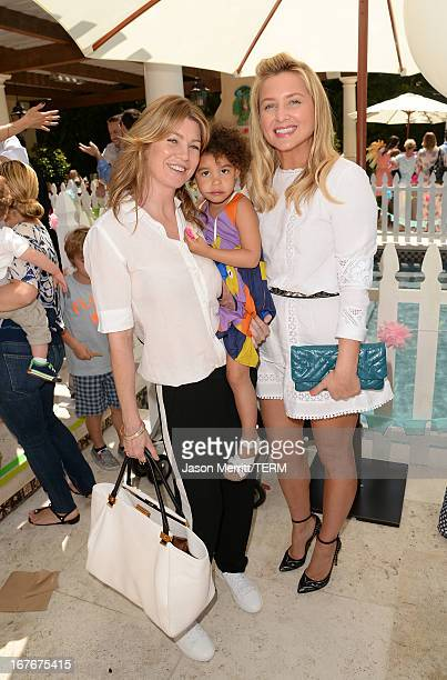 Actresses Ellen Pompeo daughter Stella Ivery and Jessica Capshaw attend the Huggies Snug Dry and Baby2Baby Mother's Day Garden Party held on April 27...