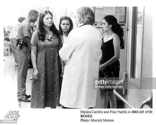 Actresses Elpidia Carrillo and Pilar Padilla on set of the movie Bread and Roses circa 2000