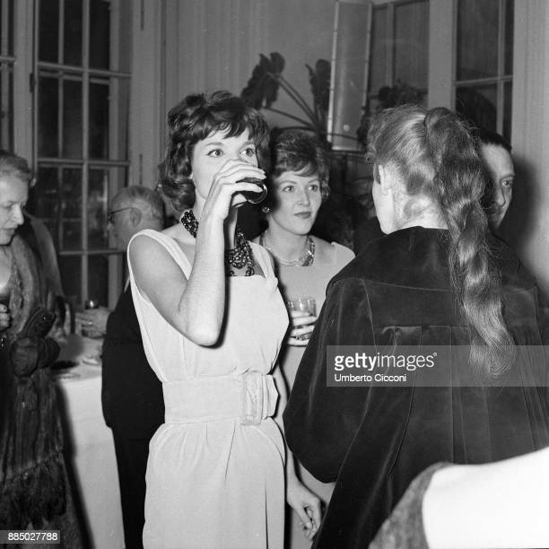Actresses Elsa Martinelli and Carla del Poggio at the party for the movie 'The Tempest' Italy 1958