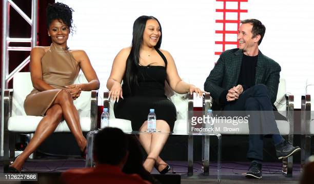 Actresses Emayatzy Corinealdi and Aliyah Royale and actor Noah Wyle of the television show 'The Red Line' speak during the CBS segment of the 2019...