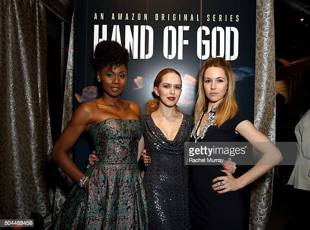 Actresses Emayatzy Corinealdi Elizabeth McLaughlin and Alona Tal attend Amazon's Golden Globe Awards Celebration at The Beverly Hilton Hotel on...