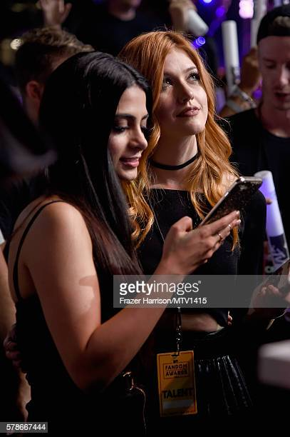 Actresses Emeraude Toubia and Katherine McNamara attend the MTV Fandom Awards San Diego at PETCO Park on July 21 2016 in San Diego California