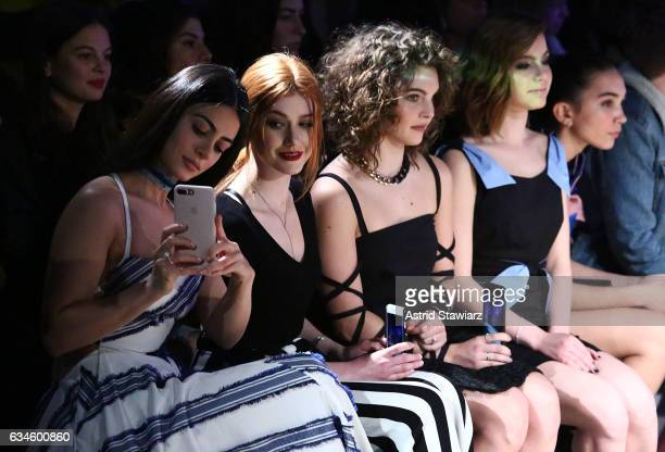 Actresses Emeraude Toubia Katherine McNamara Camren Bicondova and Sami Gayle attend the Milly show during New York Fashion Week on February 10 2017...