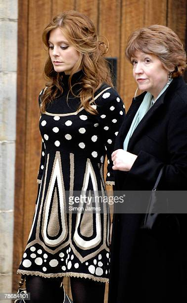 Actresses Emilia Fox and Madelaine Newton leave the wedding of Billie Piper and Laurence Fox at the Parish Church Of St Mary's on December 31 2007 in...