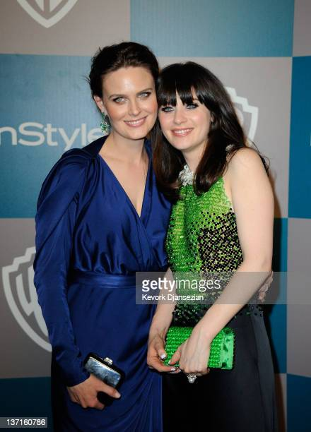 Actresses Emily and Zooey Deschanel arrive at 13th Annual Warner Bros And InStyle Golden Globe Awards After Party at The Beverly Hilton hotel on...