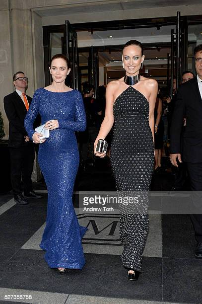Actresses Emily Blunt and Olivia Wilde leave from The Mark Hotel for the 2016 'Manus x Machina Fashion in an Age of Technology' Met Gala on May 2...