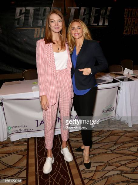 Actresses Emily Coutts and Olivia d'Abo attend the 18th annual Official Star Trek Convention at the Rio Hotel & Casino on August 04, 2019 in Las...