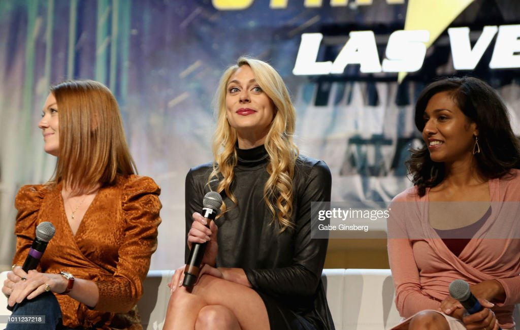 Actresses Emily Coutts Sara Mitich and Rekha Sharma speak at the `Discovery Panel Part 1` panel during the 17th annual official Star Trek convention..