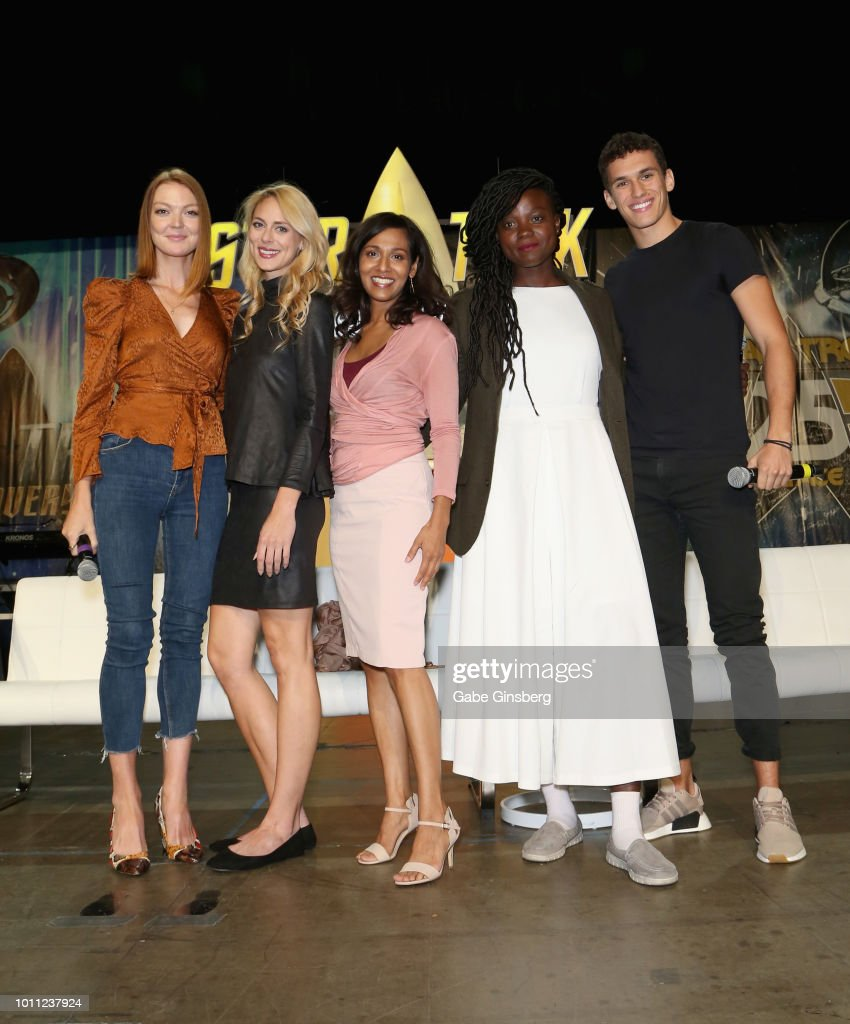 Actresses Emily Coutts Sara Mitich Rekha Sharma Oyin Oladejo and actor Sam Vartholomeos pose at the `Discovery Panel Part 1` panel during the 17th...