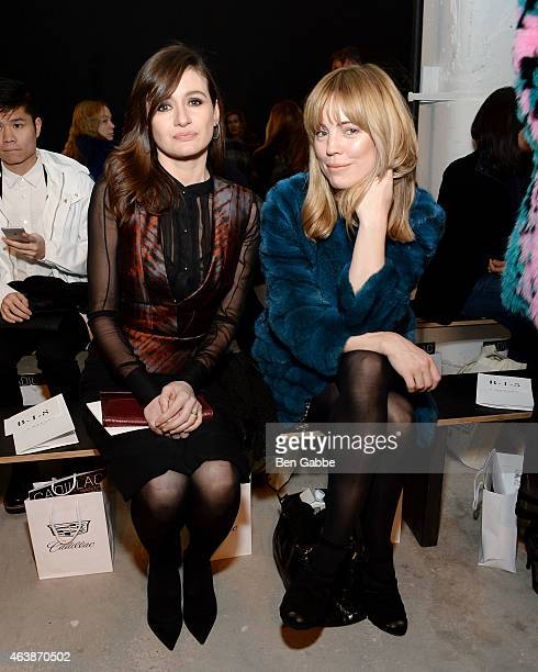 Actresses Emily Mortimer and Melissa George attend the J Mendel fashion show during MercedesBenz Fashion Week Fall 2015 on February 19 2015 in New...