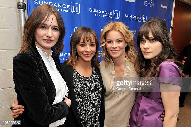 Actresses Emily Mortimer Rashida Jones Elizabeth Banks and Zooey Deschanel attend My Idiot Brother Premiere at the Eccles Center Theatre during the...