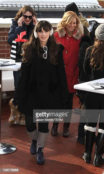 Actresses Emily Mortimer Zooey Deschanel and Elizabeth Banks attend The Samsung Galaxy Tab Lift on January 23 2011 in Park City Utah