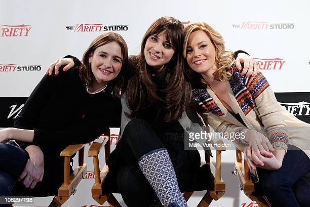 Actresses Emily Mortimer Zooey Deschanel and Elizabeth Banks attend the Variety Studio at Sundance on January 23 2011 in Park City Utah