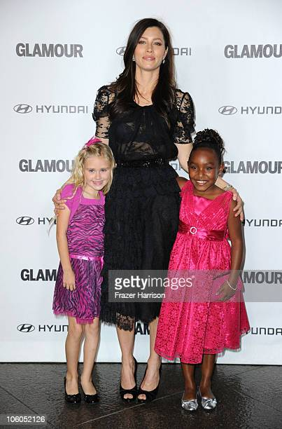 Actresses Emily Skinner Jessica Biel and Tyler Wilkins arrive at Glamour Reel Moments celebrating Jessica Biel Eva Mendes and Rachel Weisz...