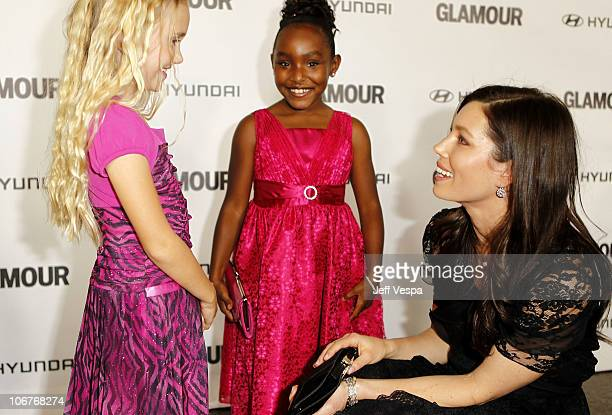 Actresses Emily Skinner Tyler Wilkins and Glamour Reel Moments Director Jessica Biel arrive at the 5th Anniversary of Glamour Reel Moments presented...