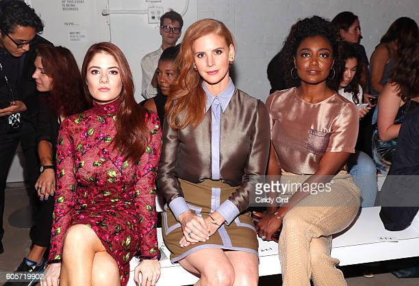 Actresses Emily Tremaine Sarah Rafferty and Patina Miller attend the Georgine fashion show during New York Fashion Week September 2016 at The Gallery...
