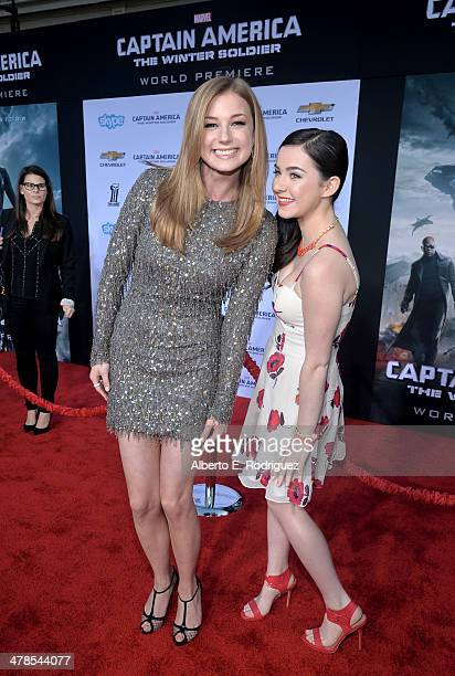 Actresses Emily VanCamp and Sarah Gilman attend Marvel's Captain America The Winter Soldier premiere at the El Capitan Theatre on March 13 2014 in...