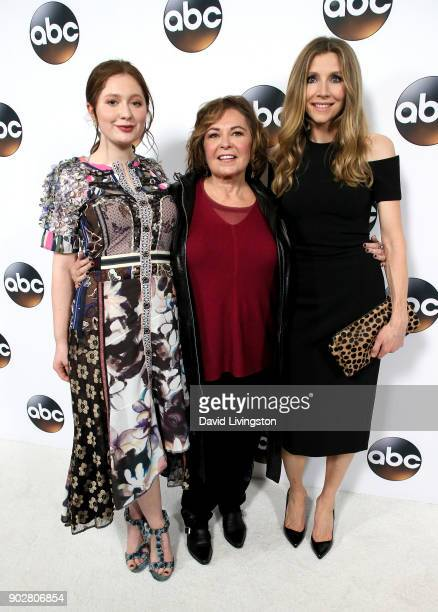 Actresses Emma Kenney Roseanne Barr and Sarah Chalke attend Disney ABC Television Group's TCA Winter Press Tour 2018 at The Langham Huntington...
