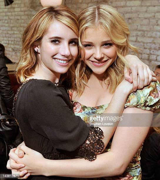 Actresses Emma Roberts and Chloe Grace Moretz attend the after party for a special screening of 'Hick hosted by The Cinema Society and Phase 4 Films...