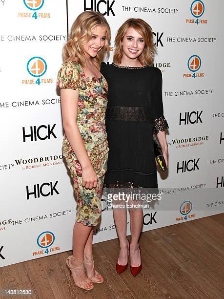 Actresses Emma Roberts and Chloe Grace Moretz attend The Cinema Society Phase 4 Films screening of Hick at the Crosby Street Hotel on May 3 2012 in...