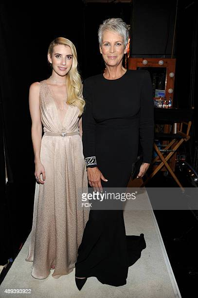 Actresses Emma Roberts and Jamie Lee Curtis attend the 67th Annual Primetime Emmy Awards at Microsoft Theater on September 20 2015 in Los Angeles...