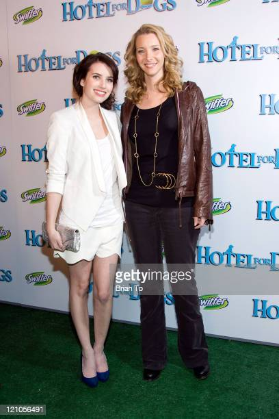 Actresses Emma Roberts and Lisa Kudrow arrive at the Los Angeles premiere of 'Hotel for Dogs' at Grove Pacific Theaters on January 15 2009 in Los...