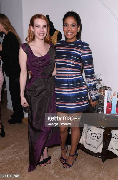 Actresses Emma Roberts and Priyanka Bose attends Red Carpet Green Dress PreOscar Celebration at a private residence on February 23 2017 in Los...