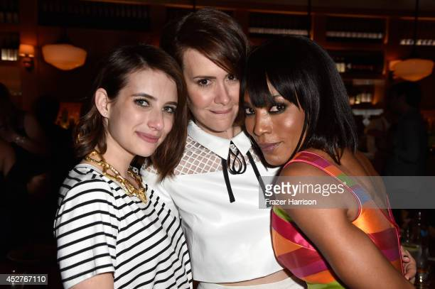 Actresses Emma Roberts Sarah Paulson and Angela Bassett attend Twentieth Century Fox Television's ComicCon Stars Producers Cocktail Party during...