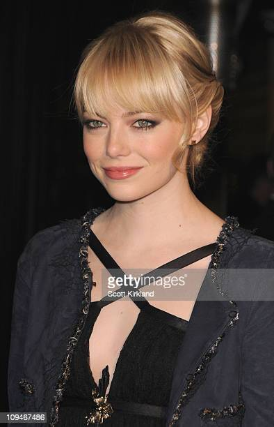Actresses Emma Stone arrives at the Chanel Charles Finch PreOscar Dinner Celebrating Fashion Film at Madeo Restaurant on February 26 2011 in Los...