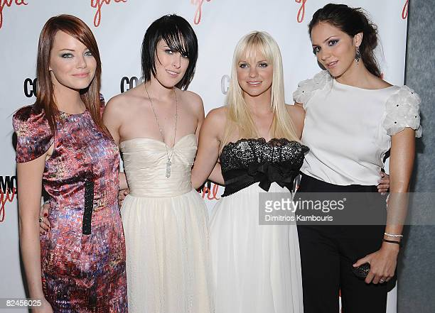 Actresses Emma Stone Rumer Willis Anna Faris and Katharine McPhee attend the premiere of The House Bunny at the Hearst Tower on August 18 2008 in New...