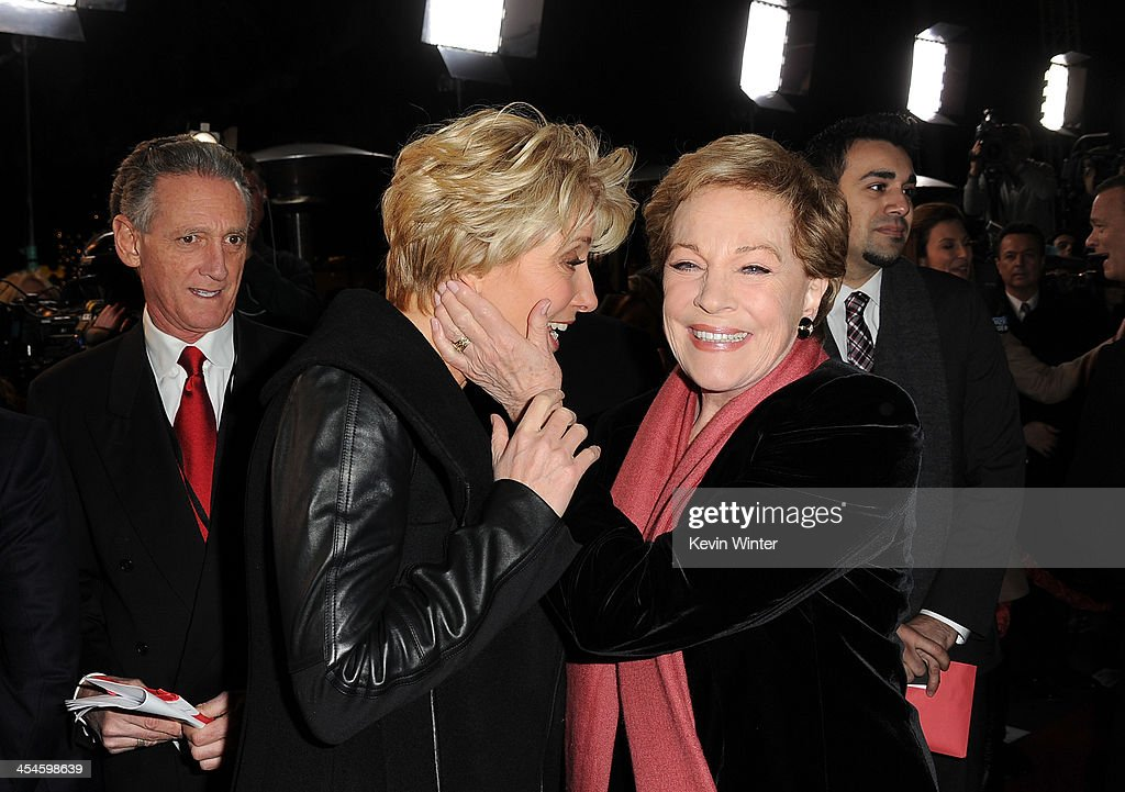 Actresses Emma Thompson (L) and Julie Andrews attend the U.S. premiere of Disney's 'Saving Mr. Banks', the untold backstory of how the classic film 'Mary Poppins' made it to the screen, at the Walt Disney Studios on December 9, 2013 in Burbank, California. The film opens this Holiday season.