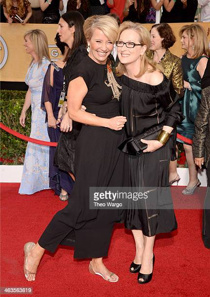 Actresses Emma Thompson and Meryl Streep attend 20th Annual Screen Actors Guild Awards at The Shrine Auditorium on January 18 2014 in Los Angeles...