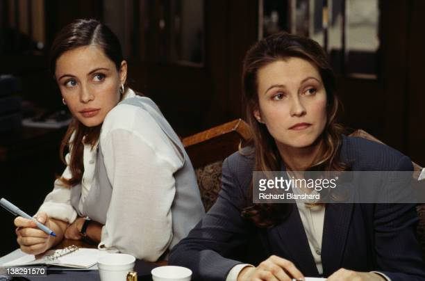 Actresses Emmanuelle Beart as Claire Phelps and Ingeborga Dapkunaite as Hannah Williams in a scene from the film 'Mission Impossible' 1995