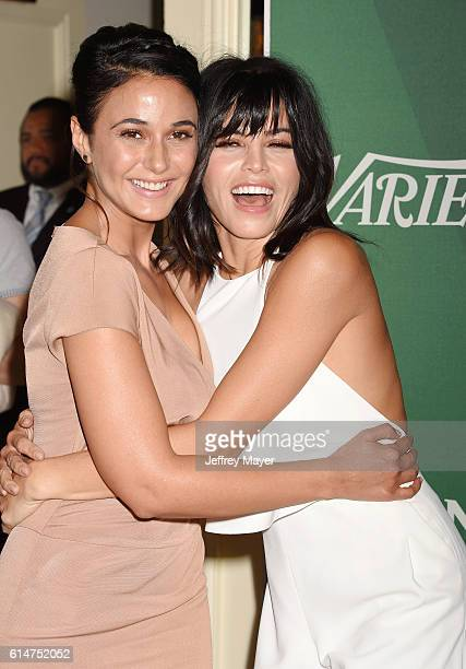 Actresses Emmanuelle Chriqui and Jenna DewanTatum arrive at the Variety's Power Of Women Luncheon 2016 at the Beverly Wilshire Four Seasons Hotel on...