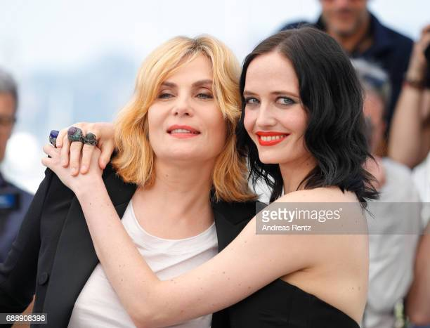 Actresses Emmanuelle Seigner and Eva Green attend the 'Based On A True Story' photocall during the 70th annual Cannes Film Festival at Palais des...