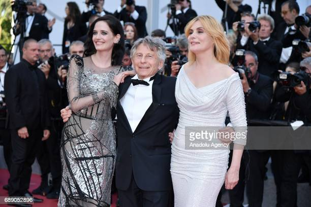 Actresses Emmanuelle Seigner Eva Green and director Roman Polanski arrive for the film 'Based on a True Story' out of competition at the 70th annual...